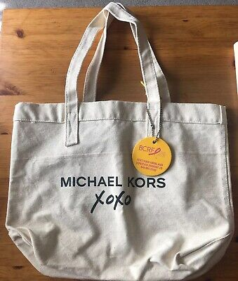 Michael Kors XOXO We love Hockey Moms Breast Cancer Canvas Bag New with tags
