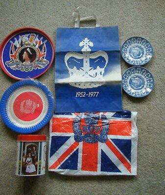 Queens Silver Jubilee Tray New Plates Carrier Bags Tin Broadhurst Saucers Fr P&P