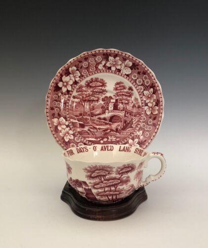 """Spode Pink Red Tower Old Backstamp Joke Cup & Saucer Set..""""Auld Land Syne"""""""