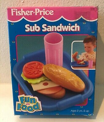 1995 Fisher Price Fun with Food Sub Sandwich Set 72197, RARE with Box!