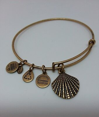 (ALEX AND ANI SHELL CHARM BANGLE WITH GOLD FINISH )