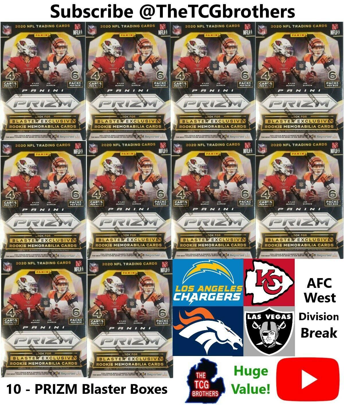 Chargers Chiefs Raiders Broncos Break 764 2020 Prizm Blaster Box Football - $215.00