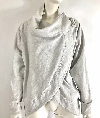 Lululemon Womens Wrap Sweater Snap Button Cowl Neck Light Heathered Gray Size 4