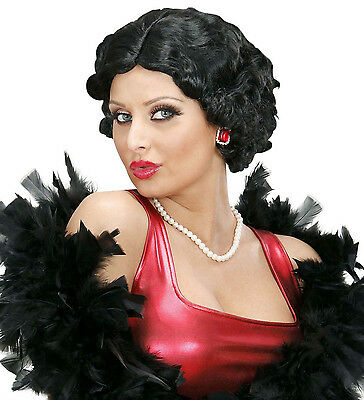 Perücke Betty, 20er 30er Diva Flapper Charleston lockiger Bob Kurzhaar, schwarz ()