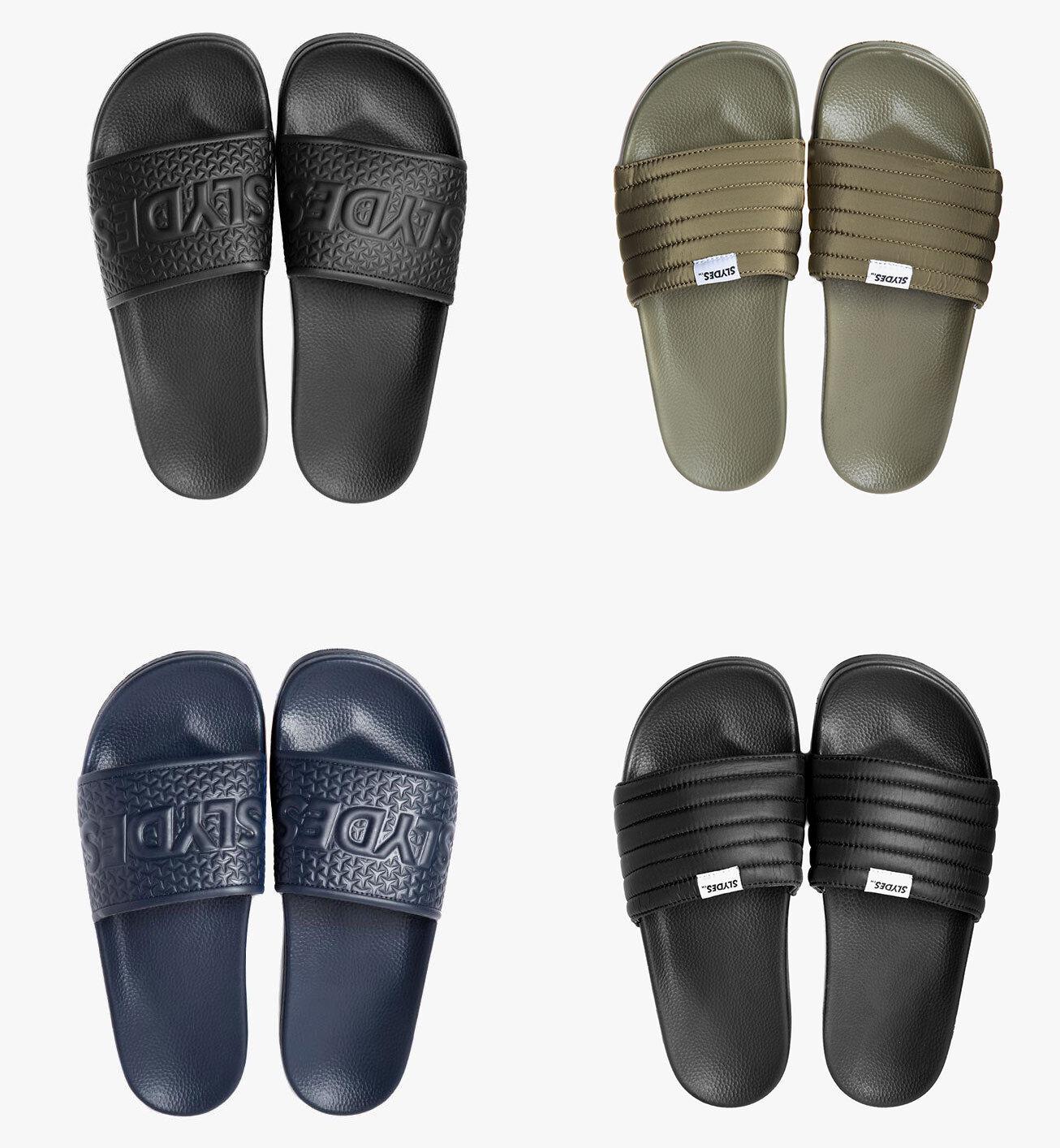b0fbb77926bf Details about Mens Slydes Flip Flops Slider Sandals Black Khaki Navy Camo