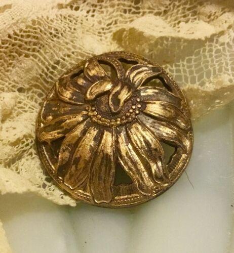 VTG antique Deco open work steel brass flower sunflower floral metal button
