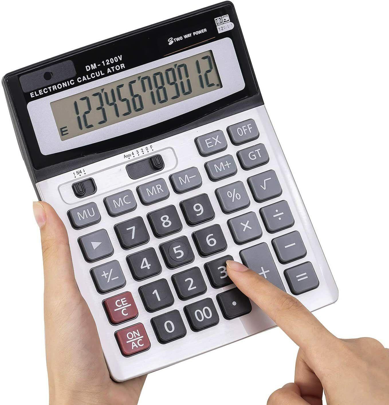 12-Digit Desktop Calculator Standard Function Dual Power Calculator Solar and AA Business & Industrial