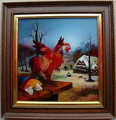 Original Hinterglasmalerei von Ivan Vecenaj, Der Rote Hahn, Kroatien, Öl