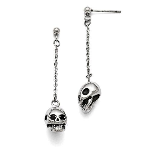 Stainless Steel Polished/antiqued Skull Post Dangle Earrings
