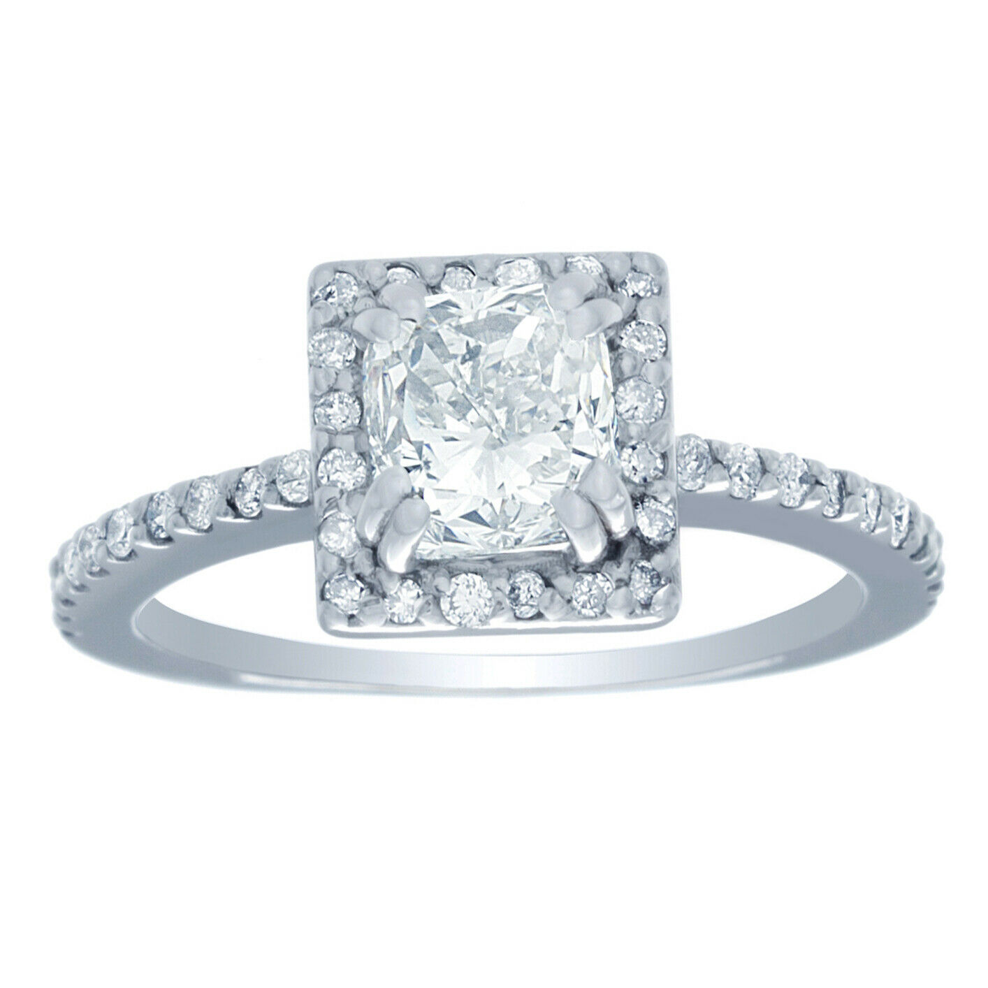 GIA Certified Diamond Engagement Ring 1.50 CTW Natural Cushion 14k White Gold