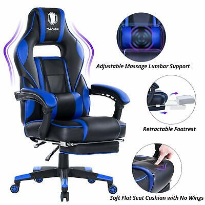KILLABEE Massage Gaming Chair High Back PU Leather Computer Chair, Blue & Black