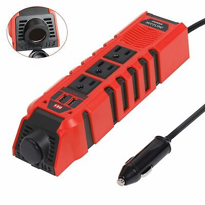 Neptune Power DC 12V To AC 110V Car Power Inverter 2 USB 3 Outlets Heat Protect