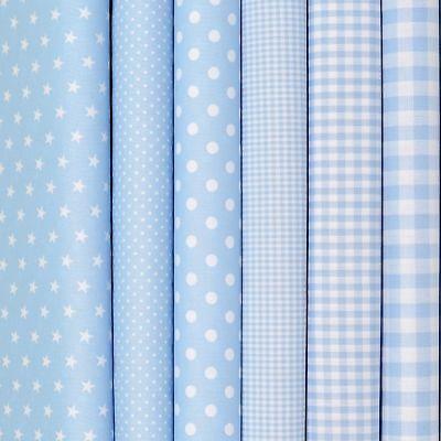 9,60€/m Baumwollstoffe Baby Blau Stoffe Uni Punkte Sterne Karo Patchwork Kinder ()
