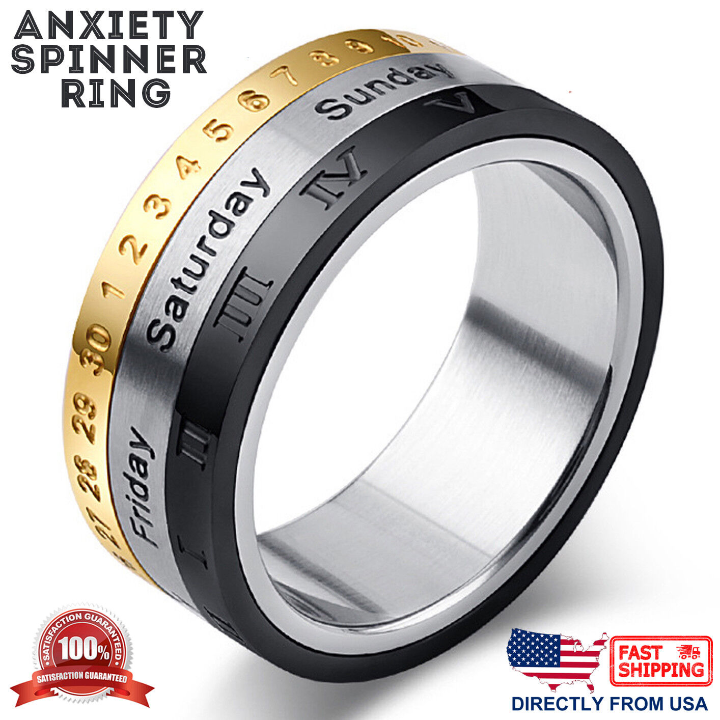 Men's Stainless Steel Dates, Roman Numerals, and Numbers Anxiety Spinner Ring Jewelry & Watches