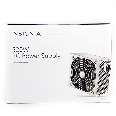 New Insignia- 520W ATX Desktop PC Power Supply - Gray - Fits ATX PC Cases
