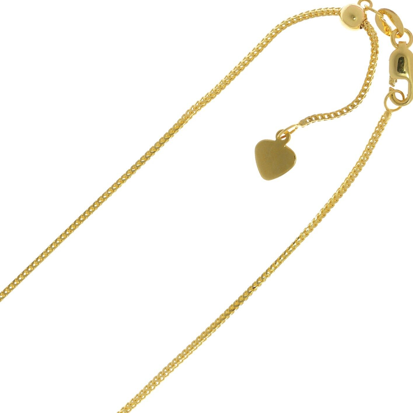 """14kt 14K Yellow Solid Gold 1mm Wheat Necklace Chain Lobster Adjustable up to 22/"""""""