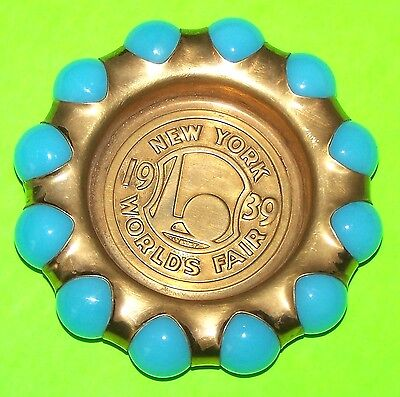 "1939 NEW YORK WORLD'S FAIR ""FISHER JEWEL TRAY"" IN LIGHT BLUE - 3.25"", EXCELLENT"