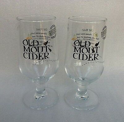 Two Stunning OLD MOUT CIDER Stemmed Pint Glasses  - NEW - Home Bar - Pub