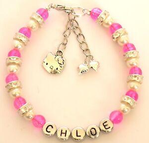 Girls Personalised Hello Kitty Charm Friendship Bracelet Flower Girl Gift