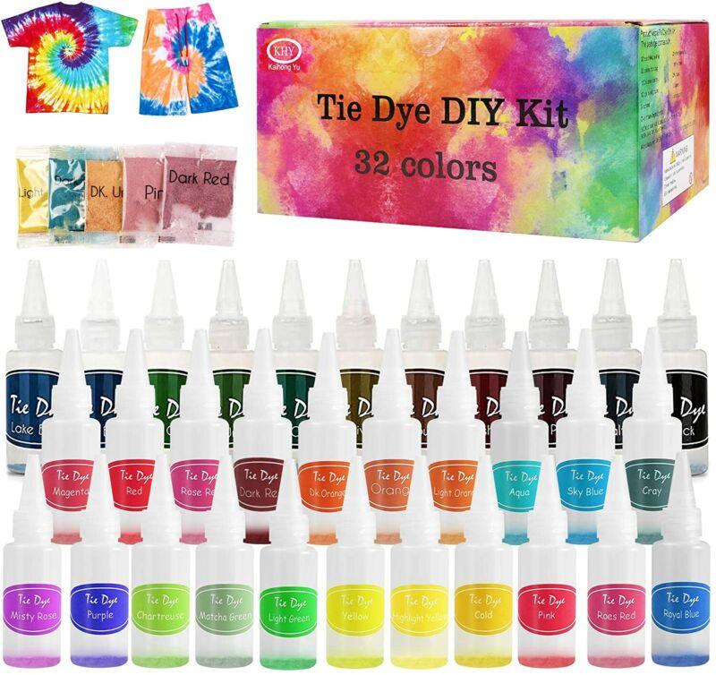 US Tie Die Kit Fabric Decorating Rainbow Tye Dye DIY Kits For kids 32 Colors Set