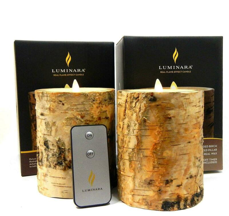 2pc Luminara BIRCH BARK Flameless Candle REAL BIRCH WOOD Bonus Remote Control