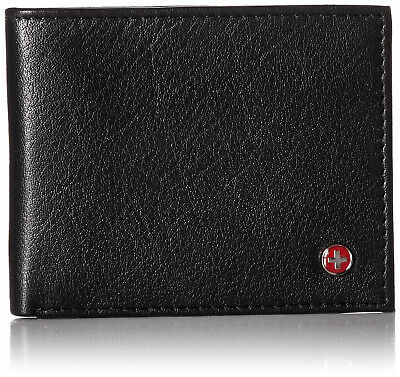 - Alpine Swiss Mens Thin Bifold Wallet Top Grain Leather EZ Access Outer Card Slot