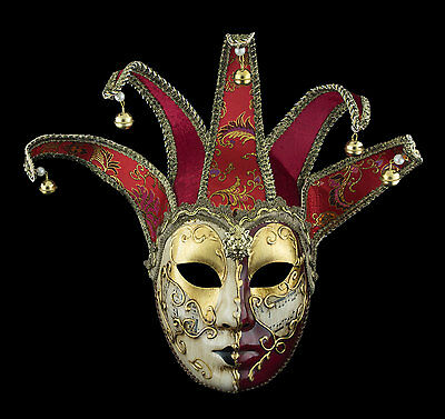 Mask from Venice Volto Jolly Golden Red in 5 Spikes -disguise - 2188 TG2