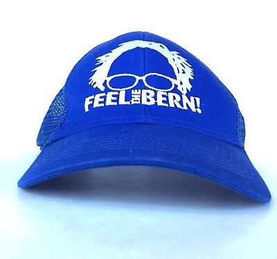Feel The Bern Bernie Sanders Blue Meshback Baseball Cap Hat Adj Adult