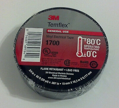 Premium 1700 3m Temflex Black Vinyl Electrical Tape 34 X 60 Flame Retardant