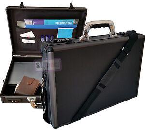 Pro Black Aluminium Laptop Padded Briefcase Attache Case Hard Carry Flight Bag