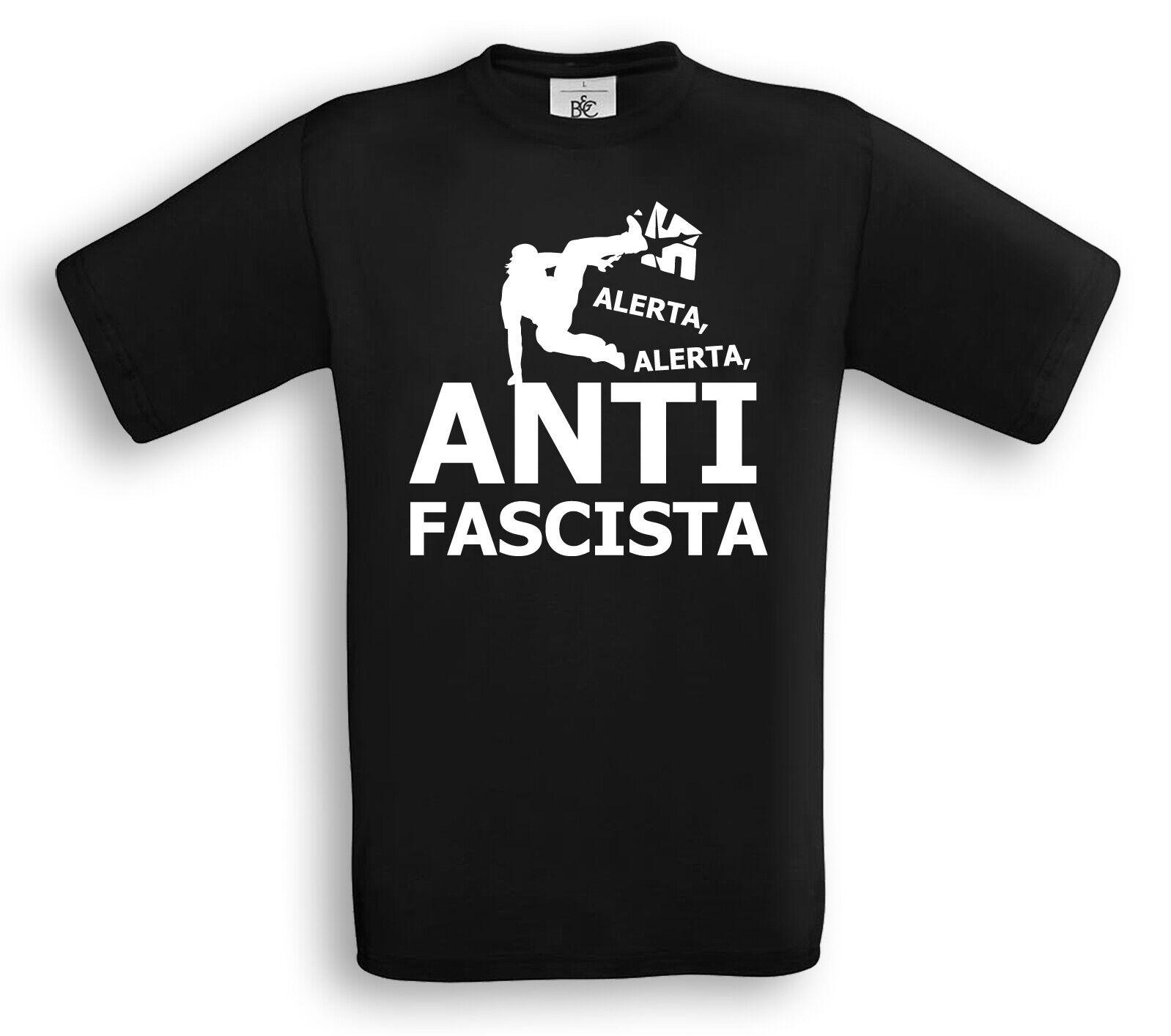 Alerta Alerta ANTIFASCISTA T-Shirt FCK NZS Gegen Nazis Parkour Punk Hardcore