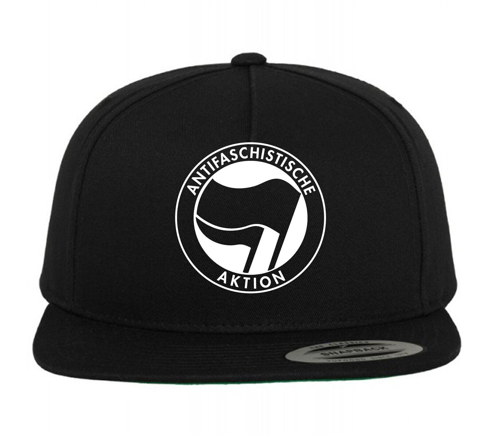 Baumwolle Basecap Motiv Antifaschistische Aktion schwarz