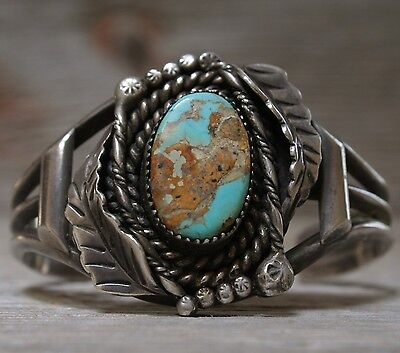 Wonderful Old Navajo Native American Turquoise Sterling Silver Cuff Bracelet