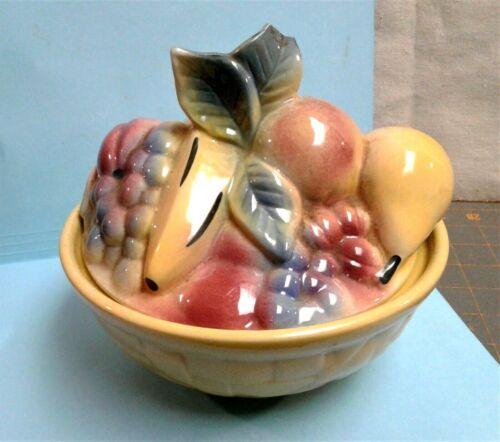 Vintage Shawnee Pottery Fruit Basket Cookie Jar Kitchenware 1950