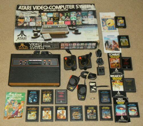 Working Atari 2600 4 Switch Console & Box CIB Lot Games Paddles Joysticks Bundle