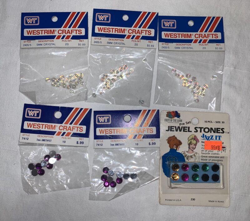 Lot (6) Westrim Crafts Rhinestones Jewels Flatback 5MM Crystal 7MM Amethyst