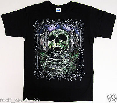 SKULL Graveyard T-shirt Haunted Castle Halloween Tee Adult MEDIUM Black New - Halloween Haunted Castle