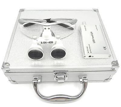 Dental Binocular Loupes 3.5x420mm Silver Led Headlight Aluminum Box Us Stock