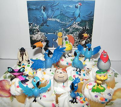Dreamworks Rio Movie Set of 12 Cake Toppers Cupcake Decorations Party Favors
