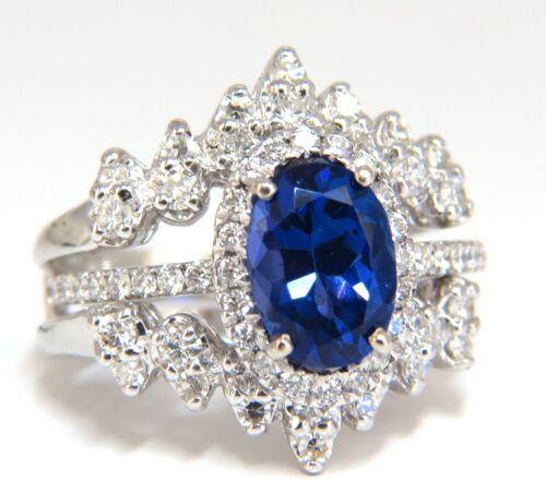 3.07ct Natural Tanzanite Diamond Ring + Insert Jacket Ring