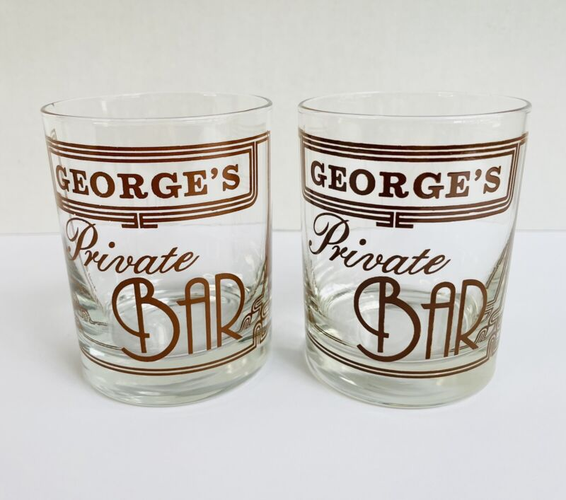2 Vintage GEORGE'S PRIVATE BAR Cocktail Glasses Clear Brown Letters 10oz