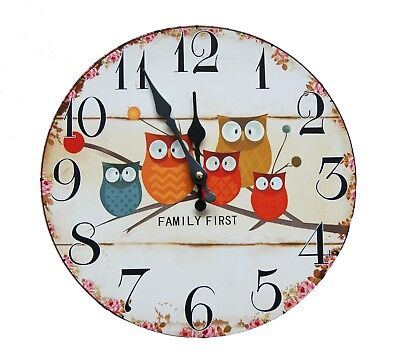 Eule Vintage Wanduhr Uhr Küchenuhr Analog Zimmer Shabby Süß Family First Kinder (Uhr Vintage Wand)