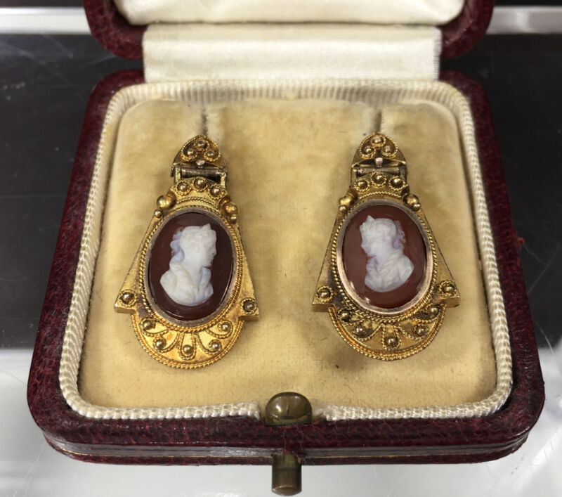 14k Pink Rose Gold Victorian Onyx Sardonyx Cameo Pierced Earrings Orig Box 5.7g