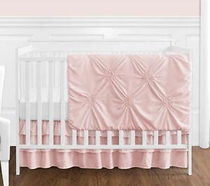 Sweet Jojo Solid Color Blush Pink Harper Shabby Chic Baby Girl Crib Bedding Set