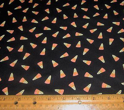 1 yard of ORANGE and YELLOW CANDY CORN on BLACK 100% Cotton Fabric HALLOWEEN