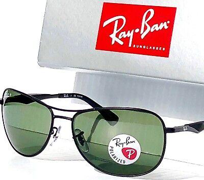 NEW* Ray Ban AVIATOR Black w POLARIZED Green Lens Sunglass RB 3519 006/9a