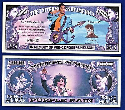 1-Prince Rogers Nelson-Dollar Bill-Purple Rain -Music Novelty  Fun Money  Z1