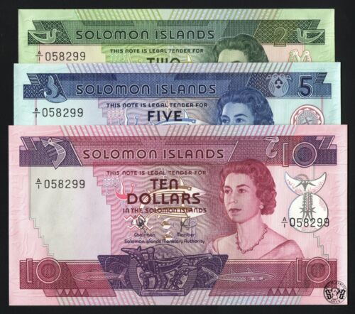 Solomon Islands 2,5,10 dollars 1977-1981. Set of 3 note, QEII. UNC,  S/N: 058299