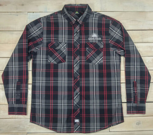 New Official GREEN FLASH Brewing Embroidered Plaid Long Sleeve Shirt Size L