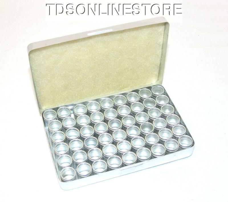 54 Aluminum Bead/Gem Canisters w Glass Lids & Aluminum Case